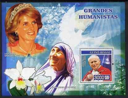 Guinea-Bissau MNH S/S Humanitarians Lady Diana Sister Teresa Pope John Paul II