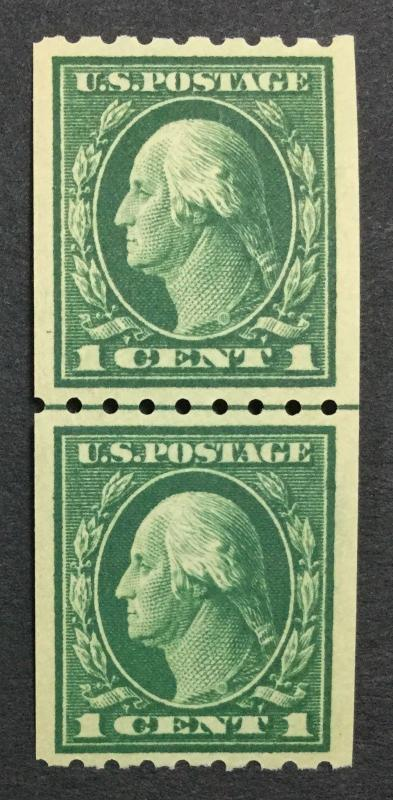 MOMEN: US #410 LINE PAIR MINT OG NH VF $65 #23589