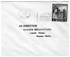Malta 1962 United Against Malaria Special Postmark Postal History Cover