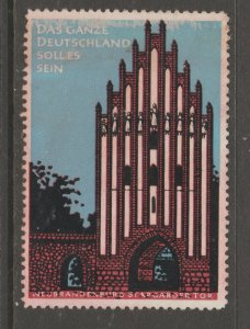 Cinderella revenue fiscal stamp 9-9-52 Germany Architecture