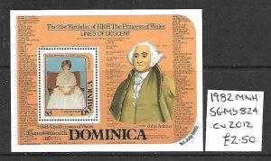 Dominica MNH S/S 824 Princess Diana Links To John Adams 1982
