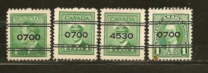 Canada King George VI Lot of 4 Different Numbered Precancels Used