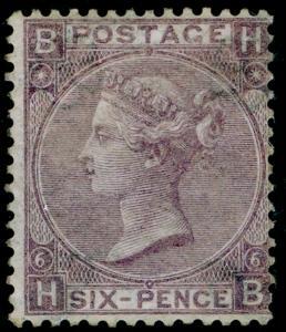 SG97, 6d lilac plate 6, LH MINT. Cat £3750. HB