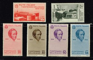 ITALY STAMP #349-54 1935 The 100th Anniversary of Bellini MH/OG  COMPLETE SET