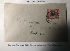 1938 Nanyuki Kenya British KUT First Return Flight Airmail Cover To Uplands