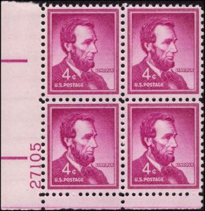 US #1036a ABRAHAM LINCOLN MNH LL PLATE BLOCK #27105 DURLAND .50¢
