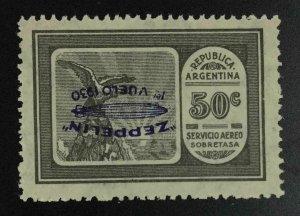 MOMEN: ARGENTINA SC #C21a 1930 INVERTED OVPT MINT OG LH LOT #63637