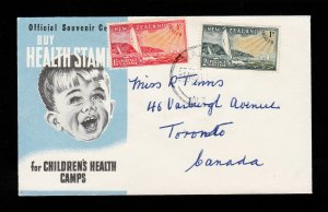 NEW ZEALAND FDC CACHETED HEALTH YACHT STAMPS ⭐ ROXBURGH HEALTH CAMP ⭐ 1951