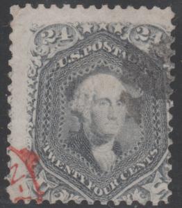#70B 24¢ STEEL BLUE SHADE RED CANCEL CV $940 BL6096