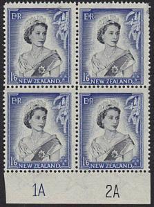 NEW ZEALAND 1953 QE 1/d plate block 1A2A mint - 3 stamps MNH...............7204