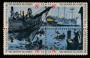 USA stamp, Scott# 1480-1483, mnh, block of four, Boston Tea party, #1480