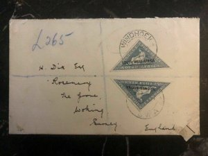 1927 Windhoek South West Africa Airmail Cover to Surrey England