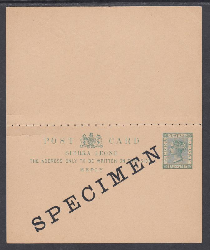 Sierra Leone H&G 6 mint 1893 ½p SPECIMEN Postal Reply Double Card