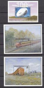Z3919 3 zaire mnh s/s 2 railroad, 1 zeppelin