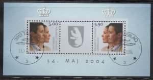 Greenland Sc 430a 2004 Royal Wedding stamp sheet used