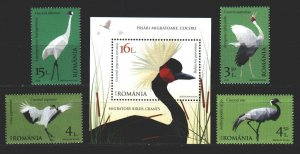 Romania. 2018. 7324-27, bl718. Birds, fauna. MNH.