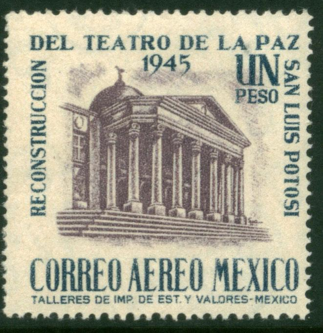 MEXICO C149, $1Peso Reconstruction of La Paz Theater MINT, NH F-VF.