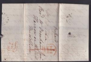 Great Britain 1840 Postal History Rare Pre-Stamp Cover + Content Middlesex  D...