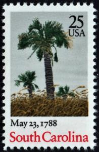 SC#2343 25¢ Bicentenary Statehood: South Carolina Single (1988) MNH