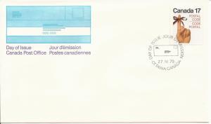 1979 Canada FDC Sc 815 - Postal Code - Female hand/red ribbon