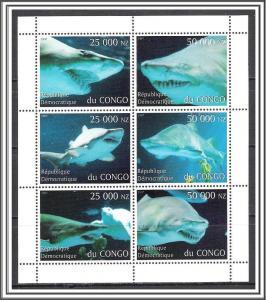 Zaire (Congo) 1997 Sharks Souvenir Sheet MNH