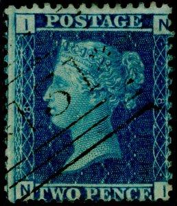 SG45, 2d blue plate 8, FINE USED. Cat £45. NI