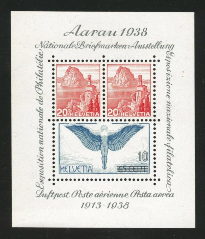 Switzerland Scott 242 MH* 1938  souvenir sheet CV$32.50