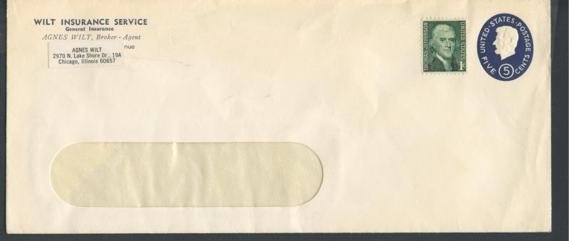US Scott's # U544b 5 Cent - Lincoln - No. 10 Envelope - Die 3 - Unused