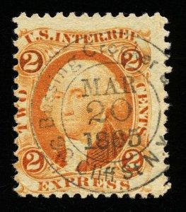 B150 U.S. Revenue Scott R10c 2c Express Orange, Iron merchant handstamp cancel