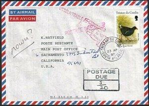 TRISTAN DA CUNHA 1997 Returned postage due cover to Sacramento USA.........77406