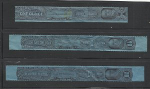 Tobacco Tax Stamps, Lot of Three, Used, 1, 1 1/2, and 1 3/4 Ounces