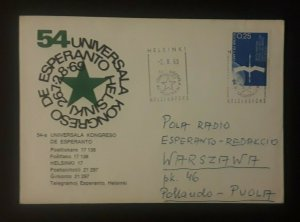 1969 Helsinki Finland World Congress Of Esperanto Illustrated Cover