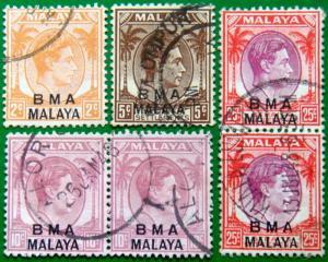 B.M.A. MALAYA 1945 King George VI Set of 4 Used