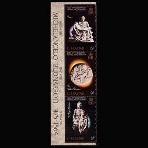 GIBRALTAR 1975 - Scott# 328B Michelangelo Set of 3 NH