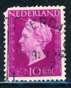 Netherlands #289 Queen Wilhelmina 10c brt red vio 1947 used crease on stamp