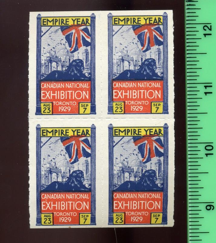1929 CANADIAN NATIONAL EXHIBITION TORONTO 'EMPIRE YEAR' Poster Stamp BLOCK (L264