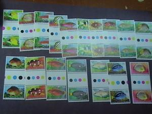 COCOS ISLANDS # 34-50-MNH-COMPLETE SET-TRAFFIC LIGHT/GUTTER PAIRS--FISH--1979(B)