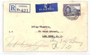 GOLD COAST Cover Registered *Tarkwa* 2s Rate Air Mail MAHOGANY TIMBER 1948 BH3