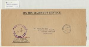 BRITISH GUIANA 1948 OHMS COVER TO US VICE CONSUL GEORGETOWN, SIGNED (SEE BELOW)