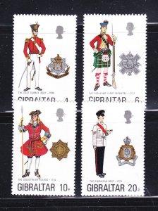 Gibraltar 318-321 Set MNH Military Uniforms (A)