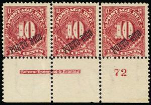 Puerto Rico J3, 10¢ Mint NH PL# Imprint Strip of Three Cat $1250 - Stuart Katz