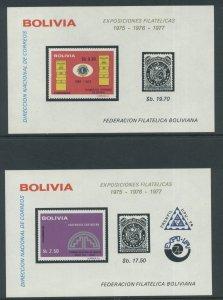 Bolivia 563 & 565 on Souv. Sheets MNH cgs