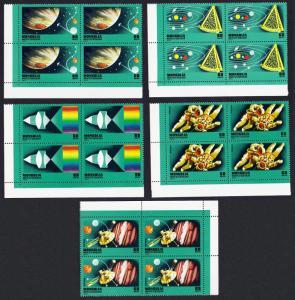 Mongolia Space Sir Isaac Newton 5v Corner Blocks of 4 RARR SG#1028-1036 SC#951