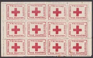 TRINIDAD 1914 Red Cross SG157 complete sheetlet of 12 mint..................B897