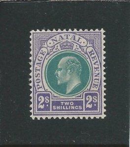 NATAL 1904-08 2s DULL GREEN & BRIGHT VIOLET LMM SG 156 CAT £70
