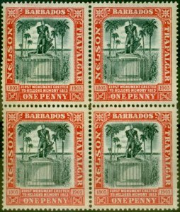 Barbados 1906 1d Black & Red SG147 Fine MNH Block of 4