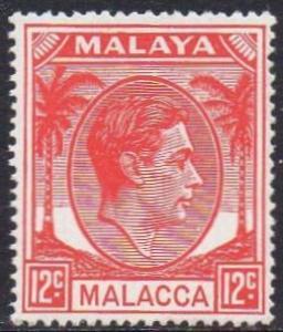 Malacca 1952 12c scarlet MH