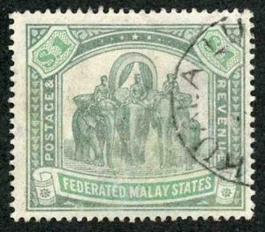 Malay States SG23 One Dollar Green and Pale Green Wmk Crown CC