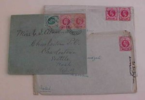 NATAL  COVERS TO USA also 2 DIFF. ALL 1909