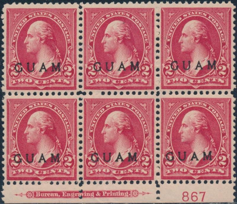 GUAM #2 LOWER PLATE #867 BLK/6 WITH IMPRINT VF OG TROPICAL GUM CV $300 BR5776